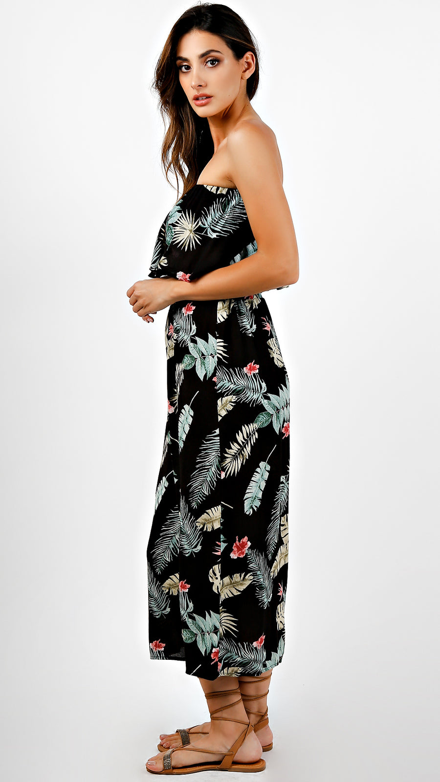 Leaves Print Tube Top And Pants Set