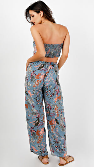 Floral Strapless Crop Top And Pants Set