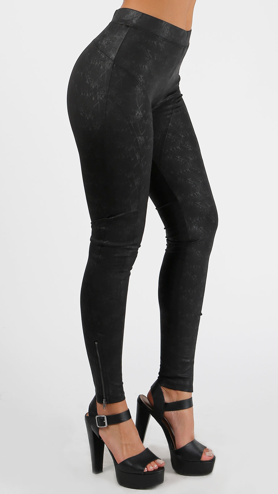 Knit Mesh Panel Leggings