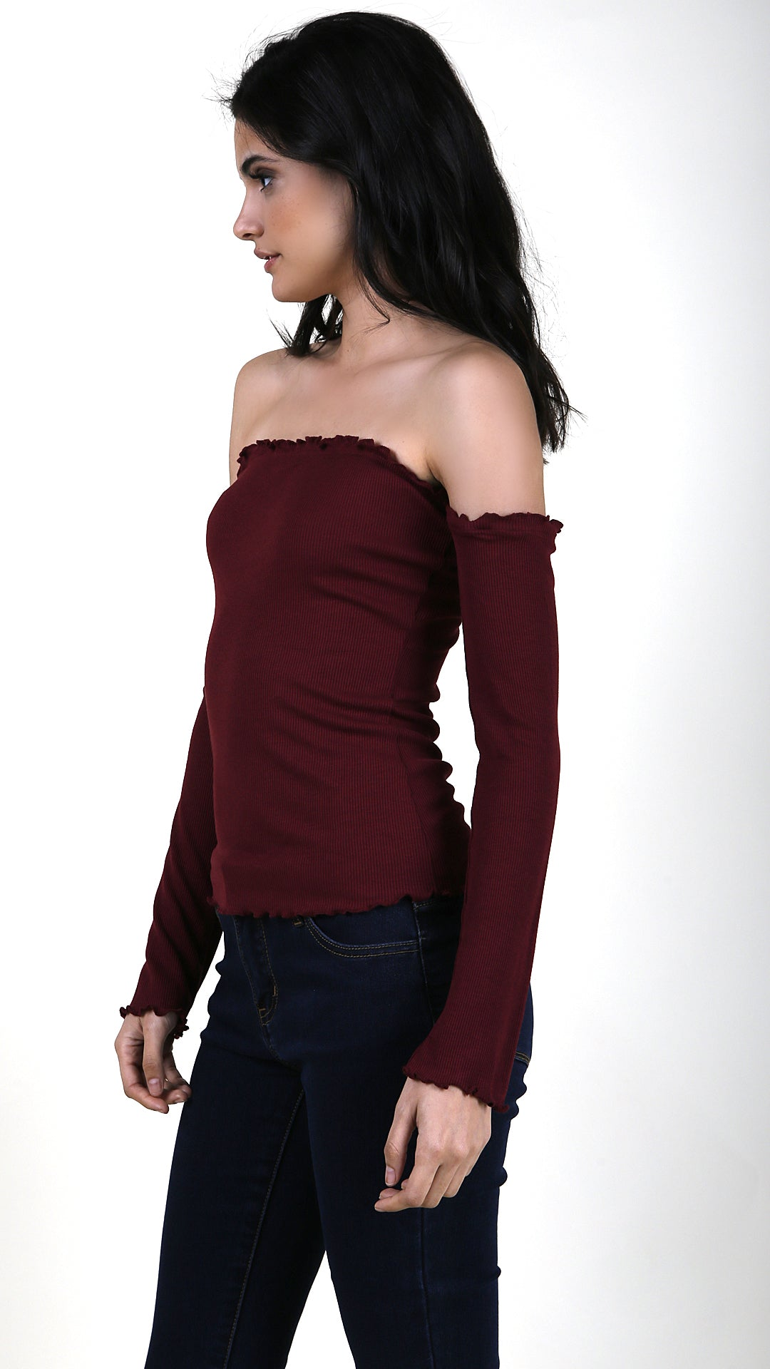 e8cebfdafe1ce Long Sleeve Ruffle Trimmed Off Shoulder Top - ANGL