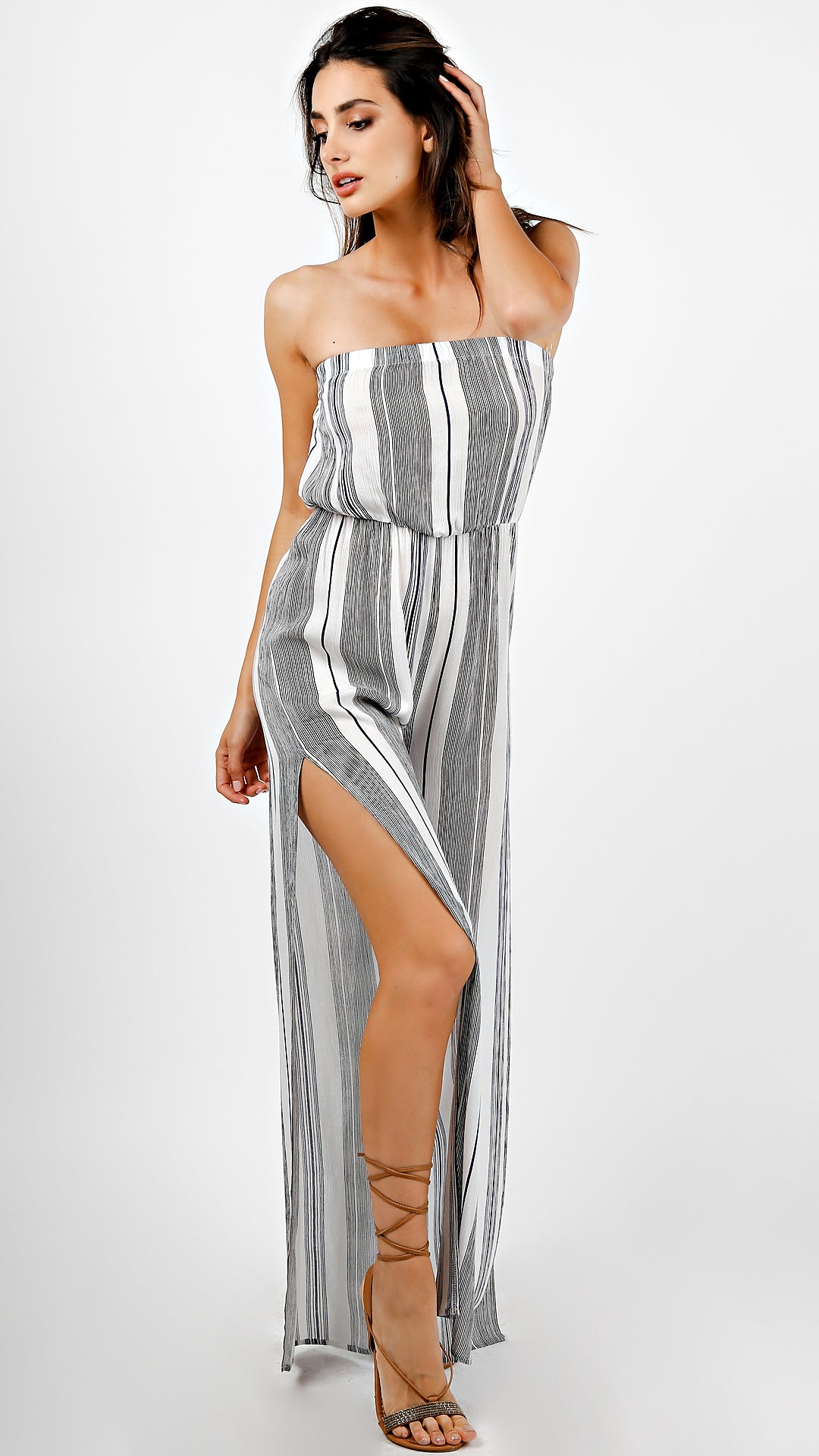 67c4bb226cf8 Striped Tube Jumpsuit With Slit - ANGL
