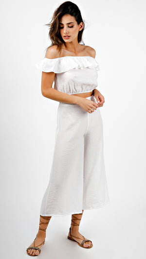 Off Shoulder With Flounce Top With Pants Set