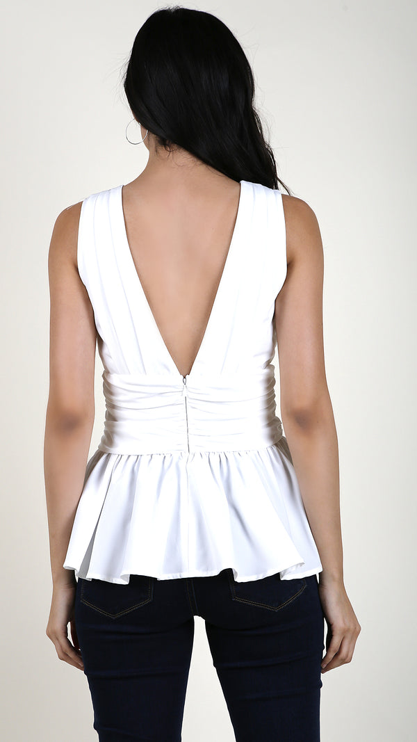 Deep V- Neck Peplum Top - Msky