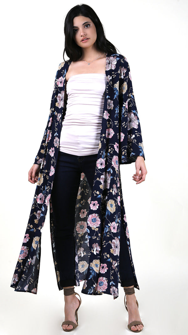 Floral Long Sleeve Cover Up - Msky