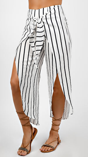 Striped High Waisted Pants With Slits