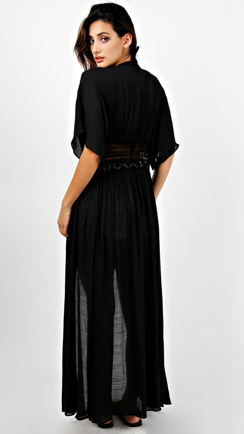 Crochet Detailed Cover Up Maxi Dress Coat - Msky