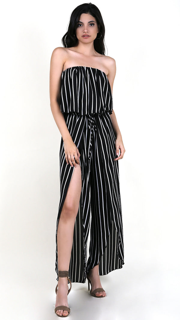 Striped Strapless Ruffle Jumpsuit