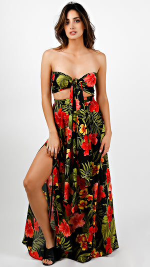 Hawaiian Red Tie Front Tube Maxi Set
