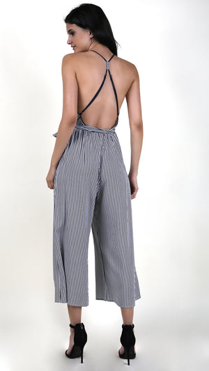 Navy Striped Front Tie Jumpsuit
