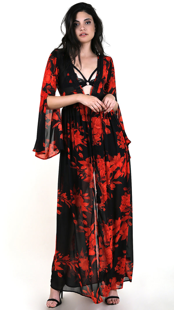 Roses Are Red Long Sleeve Cover Up Maxi Dress
