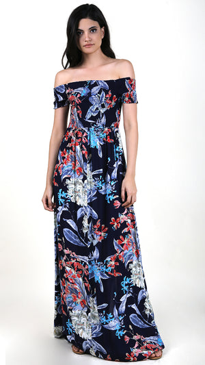Smocking Navy Blue Floral Maxi Dress