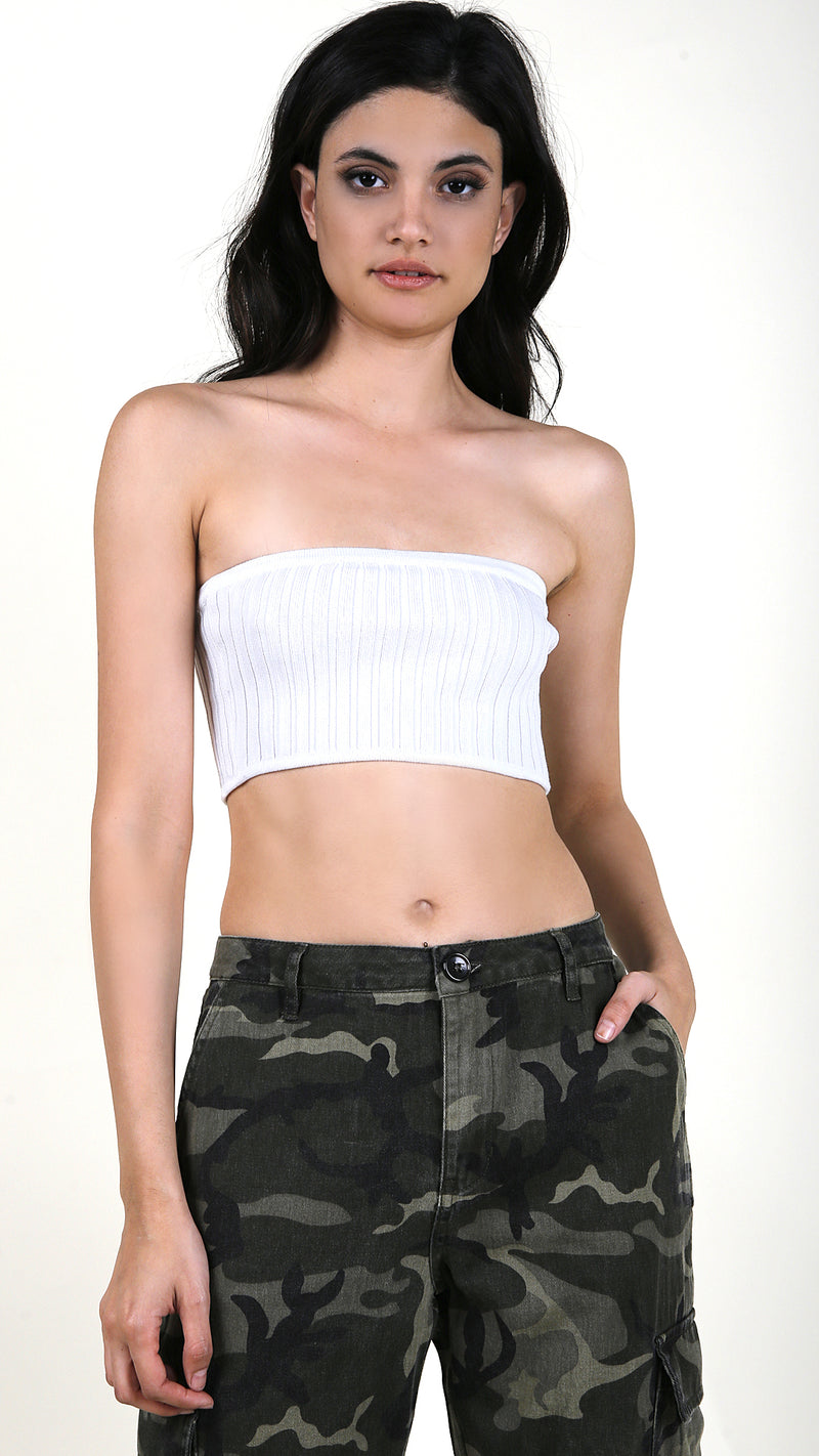 Ribbed Strapless Crop Top