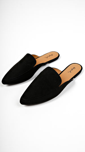 Pointed Suede Slip On Flats