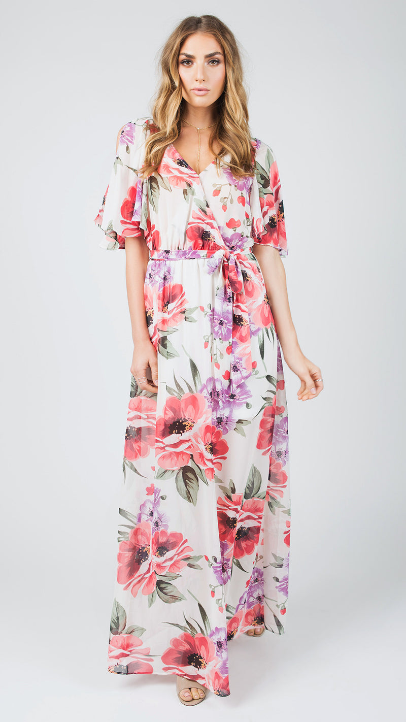 Wing Sleeve Floral Maxi Dress