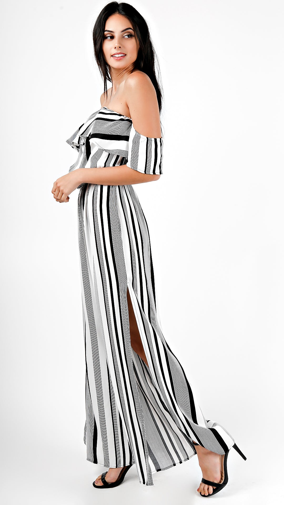 fe07d63dc0f Striped Off Shoulder Ruffle Jumpsuit- White - ANGL