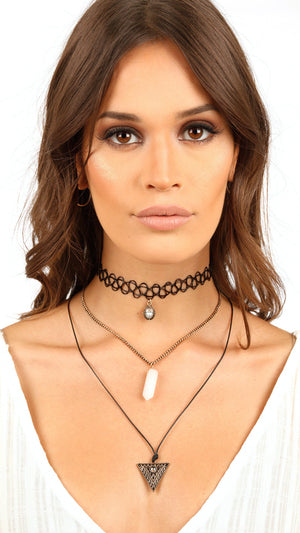Crystal Stone Choker Set