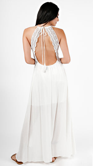 Crochet Detailed Open Back Maxi Dress