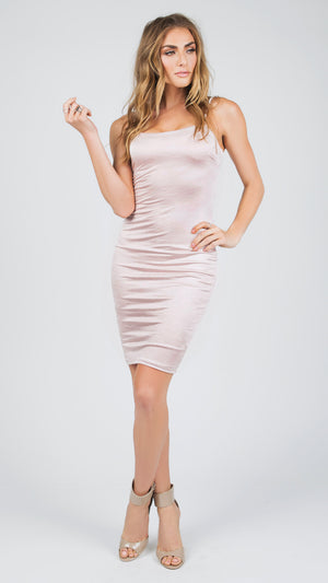 Lucy Satin Lace Up Dress - Blush