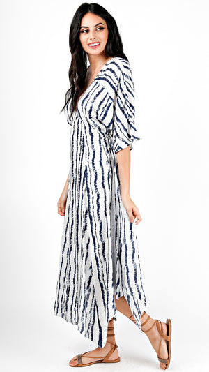 Short Sleeve Tie Dye Streak Maxi Dress