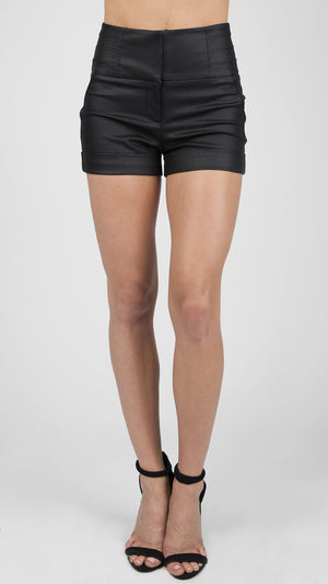 Coated Hi Waist Cuffed Shorts - ANGL