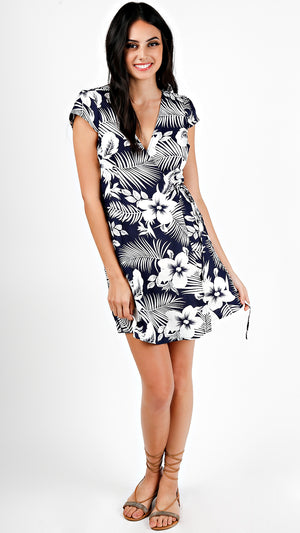 Midnight Tropics Wrap Mini Dress