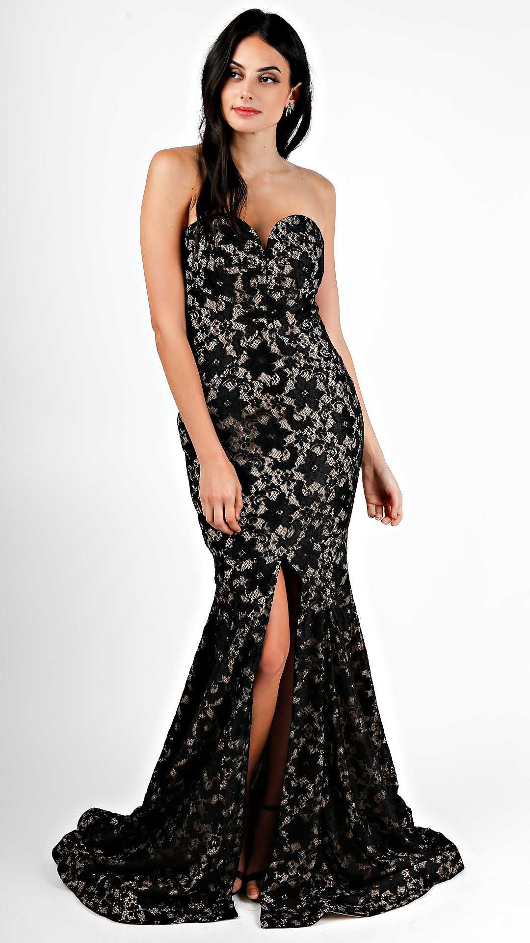 Sweetheart Lace High Slit Gown - ANGL