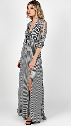 Deep V-Neck Cold Shoulder Striped Maxi Dress