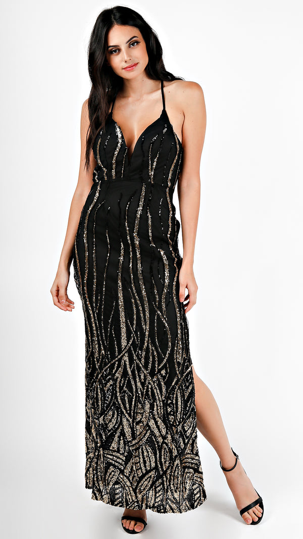 Sequin Fire X- Back Maxi Dress