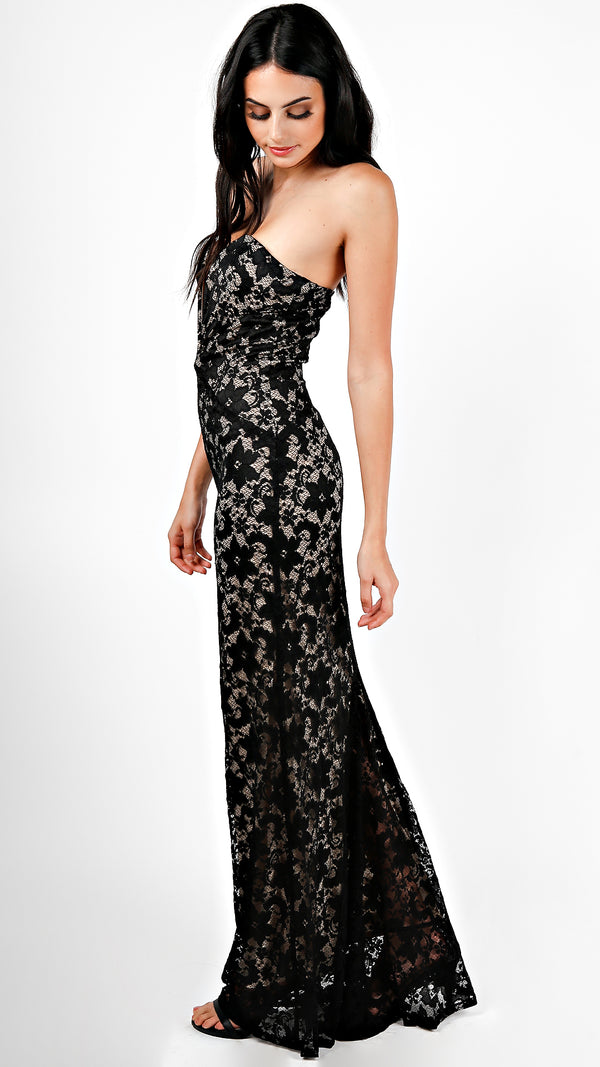 Strapless Sweetheart Lace Maxi Dress