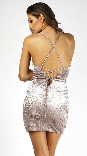 Strappy Back Crushed Velvet Dress