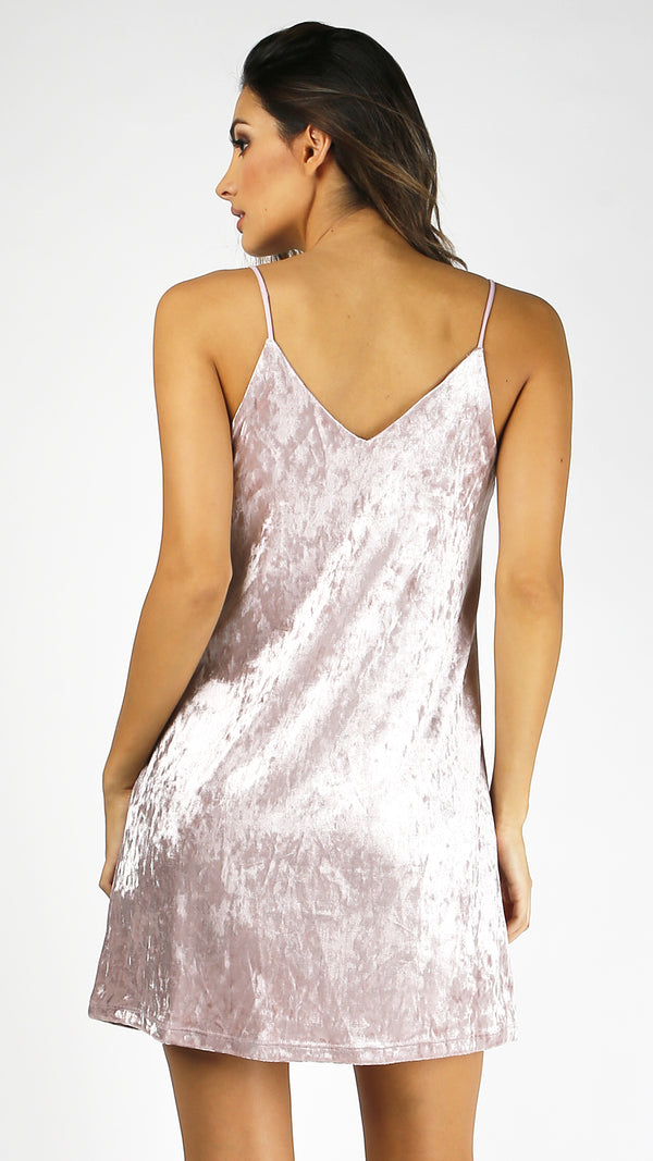 Crushed Velvet Cami Slip Dress - Msky