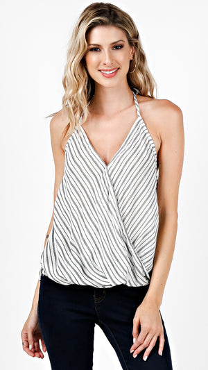 Striped Wrap Halter Top
