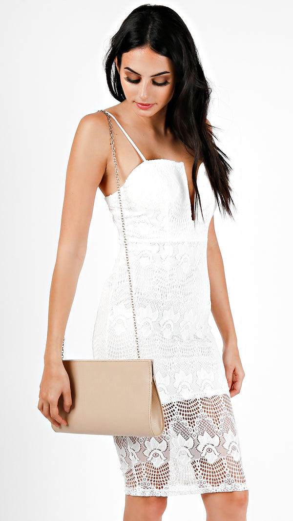 Textured Structured Clutch- Beige