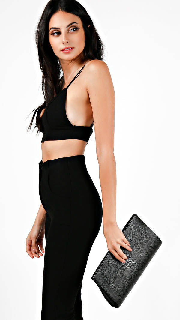 Textured Structured Clutch - Black