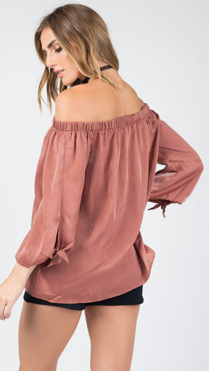 Tie Sleeve Off Shoulder Top