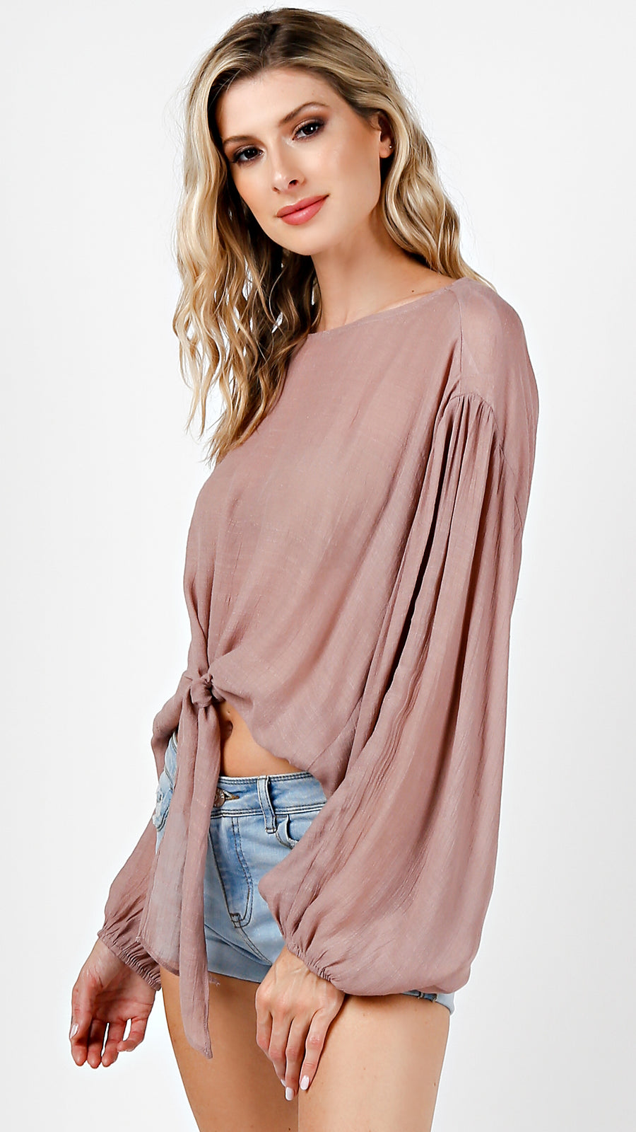 Front Tie Long Sleeve Blouse Top