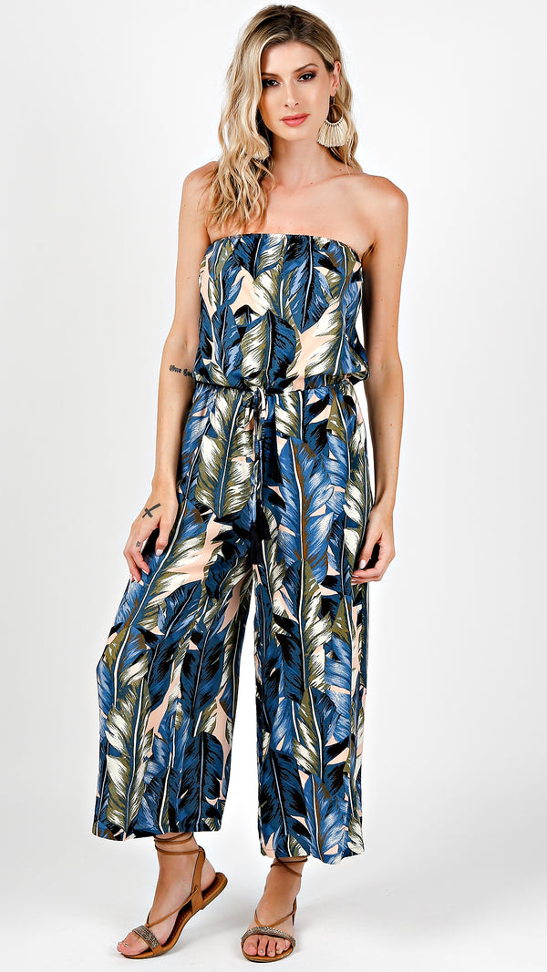 Blue Abstract Print Jumpsuit - Msky