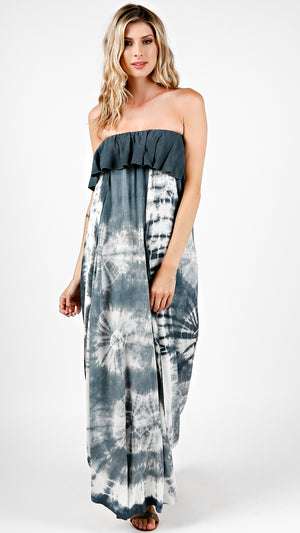 Tie Dye Tube Flounce Maxi Dress