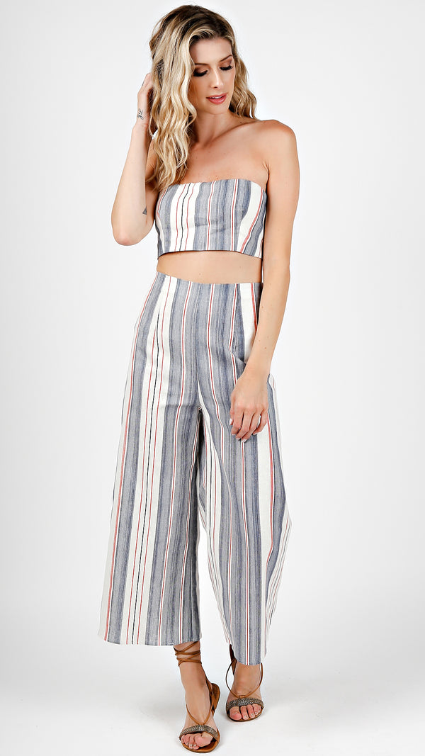Striped Tube Crop And Pants Set