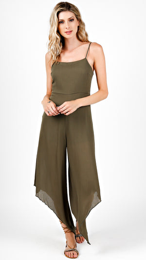 Square Neck Jumpsuit With Asymmetrical Wide Leg