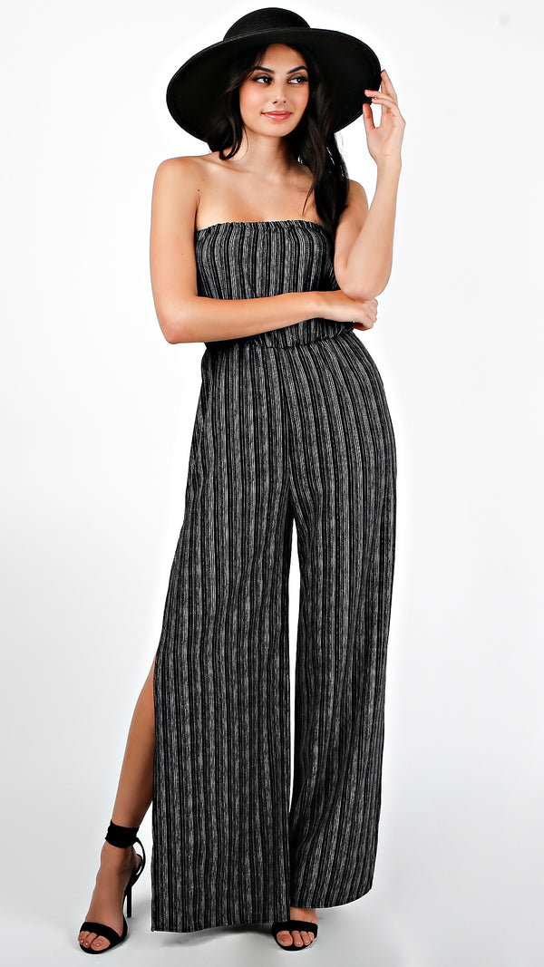 Tube Striped Jumpsuit With Slit