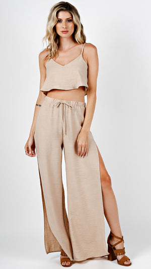 Tank Top And Slit Pants Set