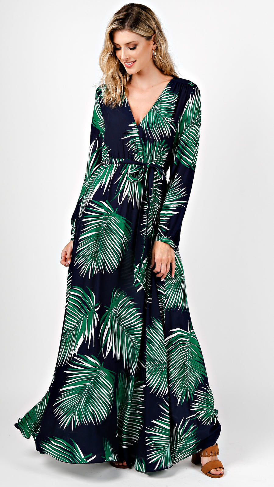 Surplice Long Sleeve Tropical Maxi Dress