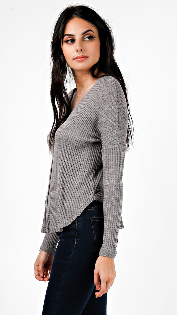 Waffle Knit Buttoned Cardigan Top - Charcoal