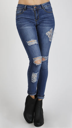 Triple Distressed Denim Jeans