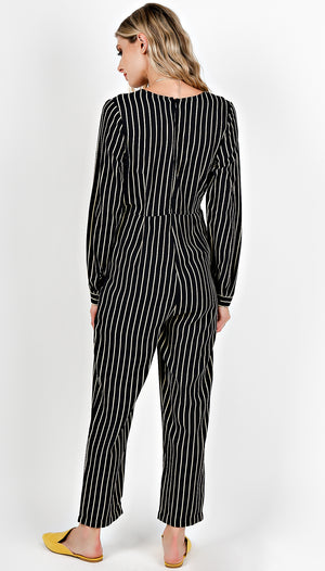 Striped V-Neck Long Sleeve Jumpsuit