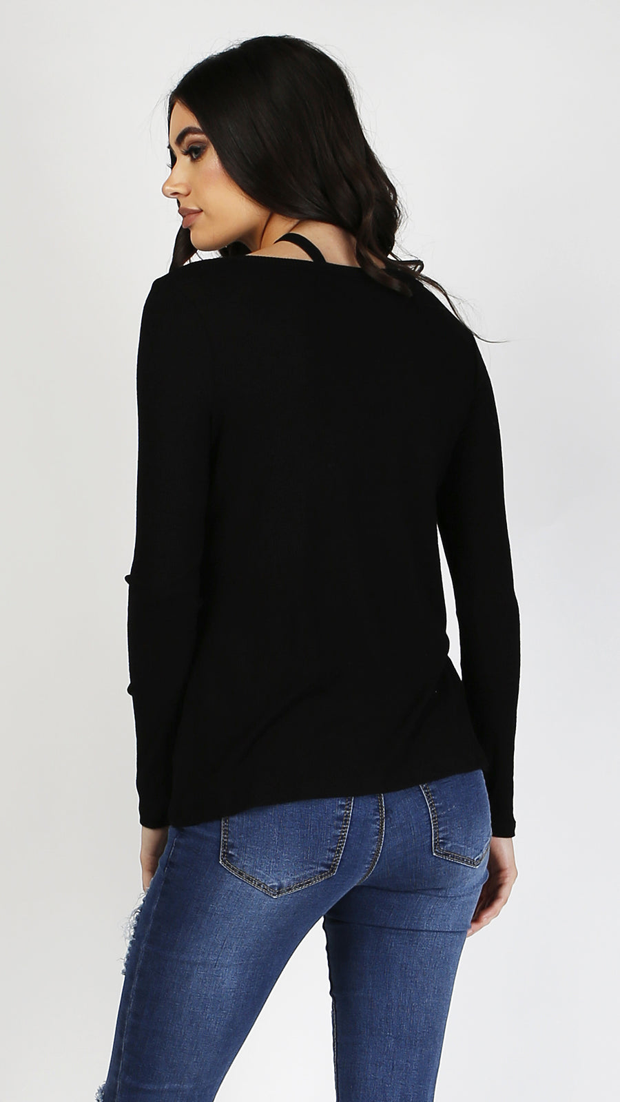 Cross Neck Detail Long Sleeve Top - ANGL