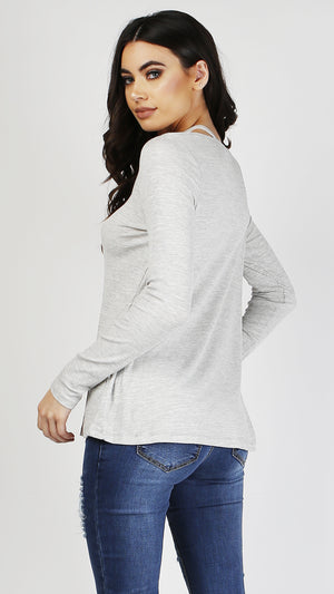 Cross Neck Detail Long Sleeve Top