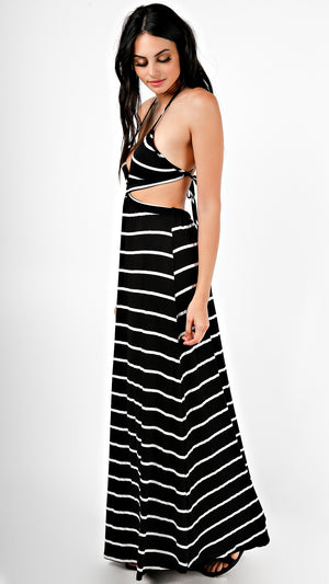 Striped Cut Out Maxi Dress