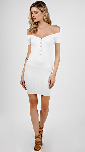 Ribbed Off Shoulder Buttoned Mini Dress
